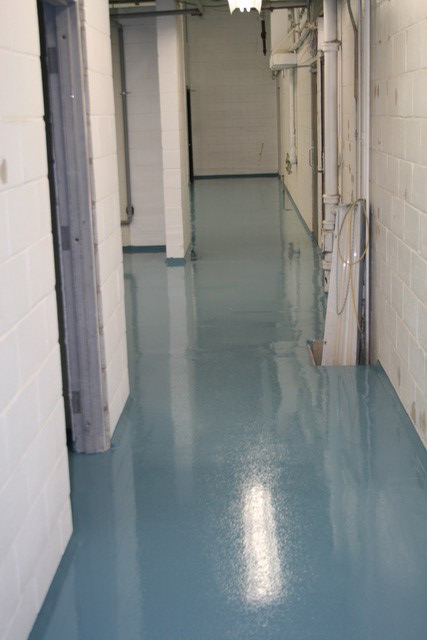 blue coated floor